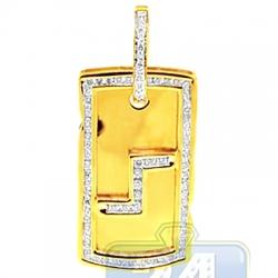 14K Yellow Gold 1.20 ct Diamond Framed Dog Tag Mens Pendant