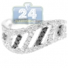 14K White Gold 0.80 ct Mixed Black Diamond Waved Band Ring