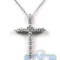 14K White Gold 1.20 ct Diamond Latin Cross Pendant