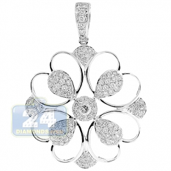 14K White Gold 1.43 ct Diamond Openwork Flower Pendant