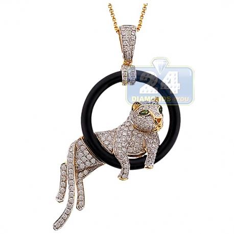 Womens Diamond Lying Panther Pendant 14K Yellow Gold 1.71ct