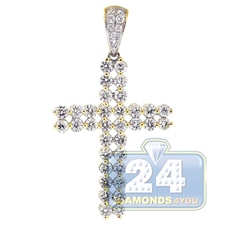 Mens Two Row Diamond Cross Pendant 14K Yellow Gold 1.71ct