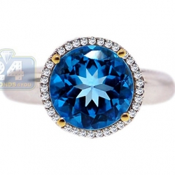 14K White Gold 4.29 ct Blue Topaz Diamond Halo Womens Ring