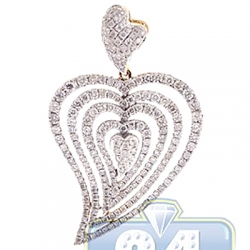 14K Yellow Gold 1.67 ct Diamond Layered Heart Womens Pendant