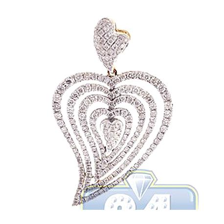 Womens Diamond Layered Heart Pendant 14K Yellow Gold 1.67ct