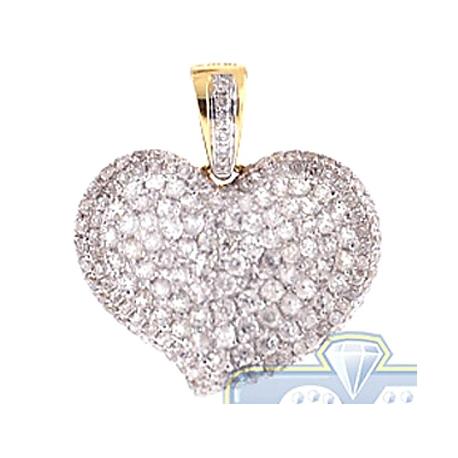 Womens Diamond Pave Concave Heart Love Pendant 14K Yellow Gold