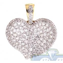 14K Yellow Gold 1.37 ct Diamond Pave Concave Heart Pendant