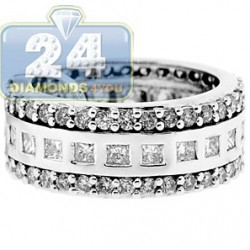 14K White Gold 3.02 ct Princess Cut Diamond Diamond All Way Womens Band Ring