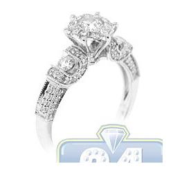 14K White Gold 1.02 ct Diamond Cluster Womens Vintage Engagement Ring