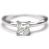 14K White Gold 1.01 ct Princess Cut Diamond Solitaire Womens Engagement Ring
