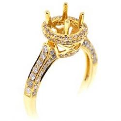 14K Yellow Gold Diamond Halo Vintage Semi Mount Engagement Ring