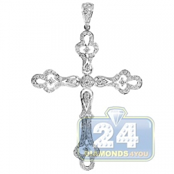 14K White Gold 1.20 ct Diamond Vintage Style Cross Pendant