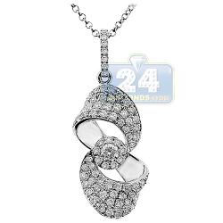 14K White Gold 1.00 ct Diamond Infinity Symbol Womens Pendant