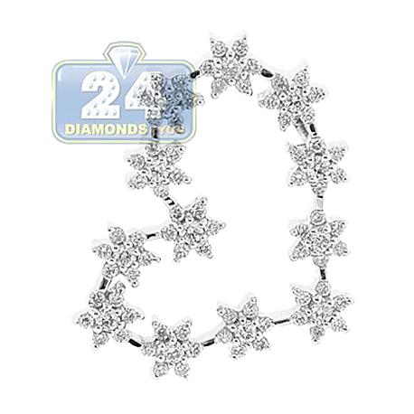 Womens Diamond Flower Open Heart Pendant 18K White Gold 1CT