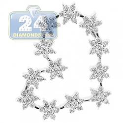 18K White Gold 1.00 ct Diamond Flower Heart Pendant