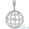 Mens Diamond Globe Sphere Ball Pendant 14K White Gold 2.27ct