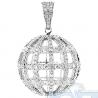 Mens Diamond Globe Sphere Ball Pendant 14K White Gold 2.27ct