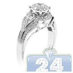 14K White Gold 0.82 ct Diamond Illusion Womens Vintage Engagement Ring
