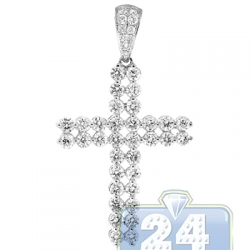 14K White Gold 1.66 ct Two Row Diamond Cross Mens Pendant