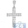 Mens Two Row Diamond Cross Pendant 14K White Gold 1.66ct