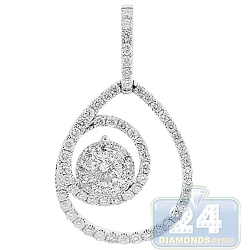 14K White Gold 1.06 ct Diamond Womens Teardrop Pendant