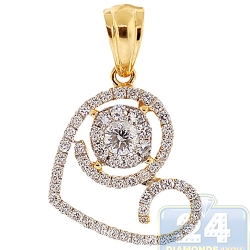 14K Yellow Gold 0.94 ct Diamond Evil Eye Heart Pendant