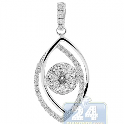 14K White Gold 1.00 ct Diamond Evil Eye Womens Pendant