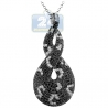 Womens Black Diamond Braided Drop Pendant 14K White Gold 1.88ct