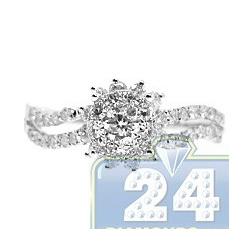 14K White Gold 1.06 ct Diamond Cluster Womens Flower Engagement Ring