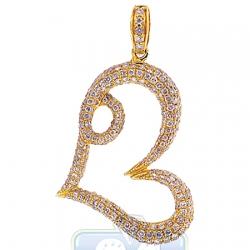 14K Yellow Gold 1.49 ct Diamond Open Heart Womens Pendant