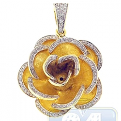 14K Yellow Gold 0.62 ct Diamond Rose Flower Womens Pendant