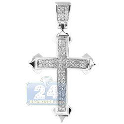 14K White Gold 0.62 ct Diamond Budded Cross Pendant