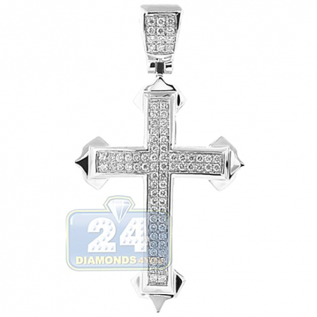 Mens Diamond Pave Budded Cross Pendant 14K White Gold 0.62ct