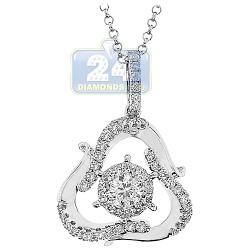 14K White Gold 0.91 ct Diamond Womens Triangle Drop Pendant