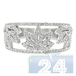 14K White Gold 0.56 ct Diamond Womens Openwork Leaf Band Ring