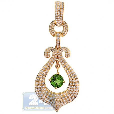 Womens Diamond Peridot Dangle Pendant 14K Yellow Gold 3.12ct