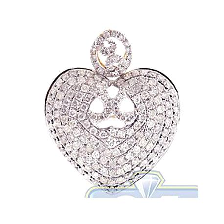 Womens Diamond Heart Pendant Necklace 14K Yellow Gold 1.41ct