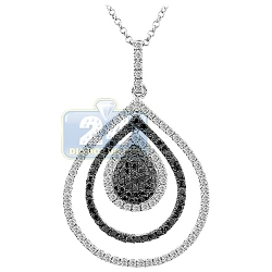 14K White Gold 1.22 ct Diamond Layered Drop Womens Pendant