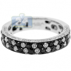 14K White Gold 1.25 ct Mixed Black Diamond Womens Band Ring
