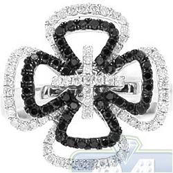 14K White Gold 0.77 ct Black Diamond Openwork Cross Ring