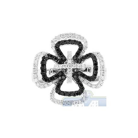 14K White Gold 0.77 ct Black Diamond Womens Openwork Cross Ring