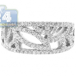 14K White Gold 0.66 ct Diamond Vintage Openwork Band Ring