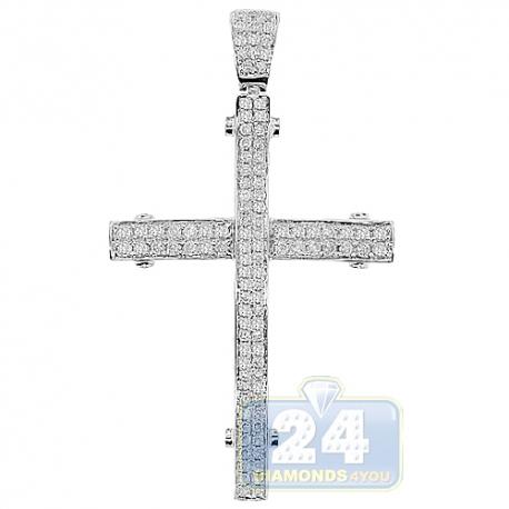 Mens Diamond Pave Latin Cross Pendant 14K White Gold 0.92ct