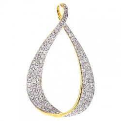 14K Yellow Gold 1.94 ct Diamond Open Loop Womens Pendant