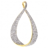 Womens Diamond Open Loop Drop Pendant 14K Yellow Gold 1.94ct