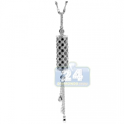 14K White Gold 1.84 ct Diamond Dangling Bar Womens Pendant