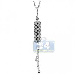 14K White Gold 1.84 ct Diamond Dangling Bar Womens Pendant