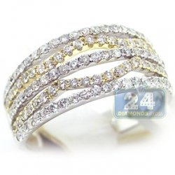 14K Two Tone Gold 1.05 ct Diamond Womens Openwork Ring