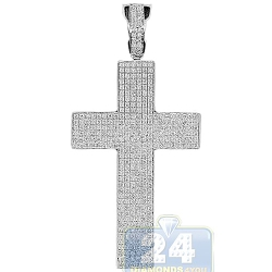 14K White Gold 0.96 ct Diamond Pave Latin Cross Pendant