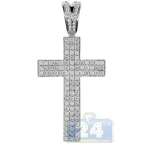 Mens Diamond Straight Latin Cross Pendant 14K White Gold 0.93ct